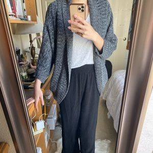 Gray speckled knit cardigan sweater